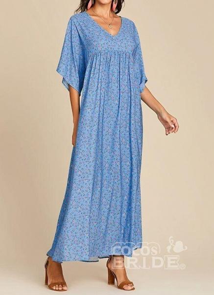 Blue Plus Size Color Block V-Neckline Casual Maxi Shift Dress Plus Dress_3