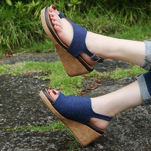 Women's Buckle Slingbacks Toe Ring Nubuck Wedge Heel Sandals_3