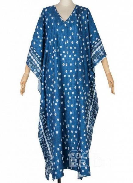 Plus Size Tunic Color Block V-Neckline Casual Maxi Plus Dress_4