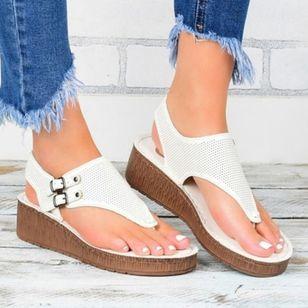 Women's Buckle Flip-Flops Cloth Wedge Heel Sandals Platforms_2