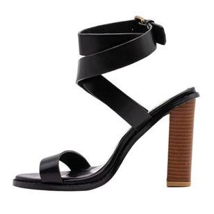 Women's Buckle Heels Leatherette Chunky Heel Sandals_2