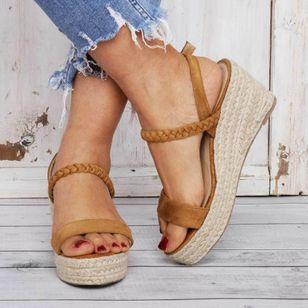 Women's Buckle Slingbacks Nubuck Wedge Heel Sandals Platforms_3