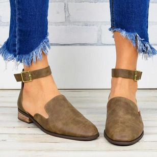 Women's Buckle Closed Toe Low Heel Sandals_7