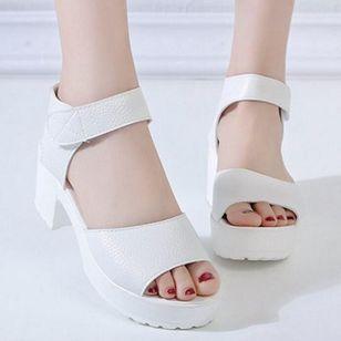 Women's Velcro Ankle Strap Slingbacks Chunky Heel Sandals_4