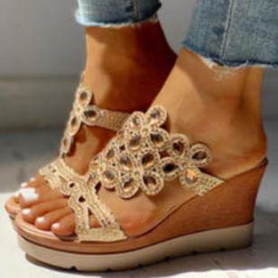 Women's Crystal Heels Wedge Heel Sandals_2