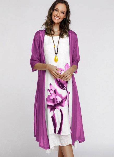 Floral Wrap Round Neckline Midi X-line Dress_5