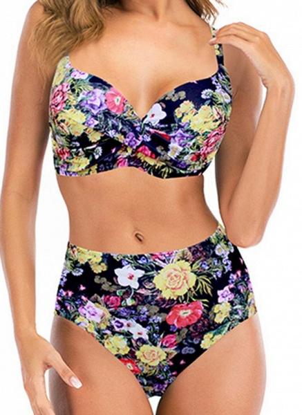 Polyester Floral Bikinis Swimwear_2