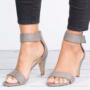 Women's Velcro Ankle Strap Heels Cloth Stiletto Heel Sandals_4