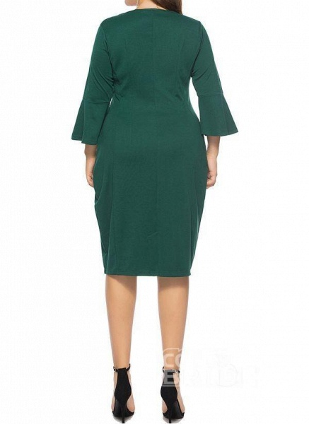 Green Plus Size Pencil Solid Round Neckline Casual Knee-Length Plus Dress_3
