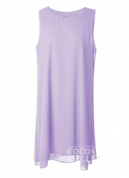 Purple Plus Size Tunic Solid Round Neckline Elegant Wrap Plus Dress_3