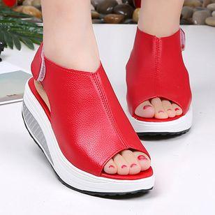 Women's Velcro Peep Toe Flat Heel Sandals_3