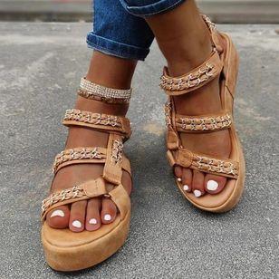 Women's Leopard Heels Low Heel Sandals_2