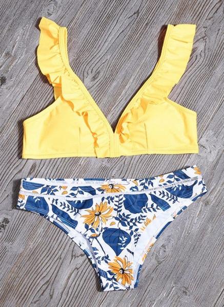Polyester Floral Bikinis Swimwear_6