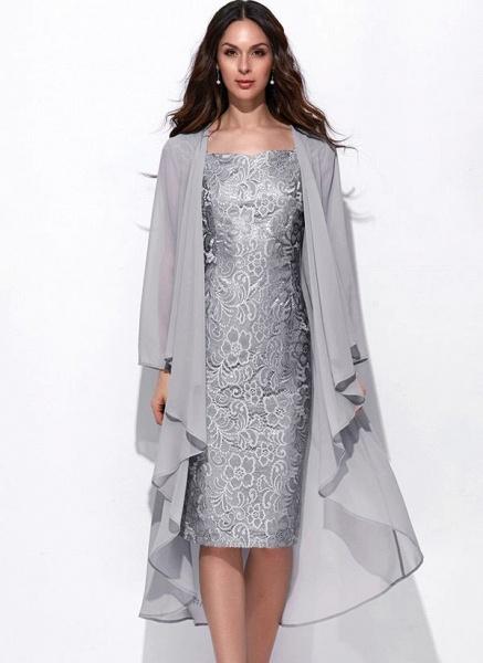 Arabian Solid Wrap Square Neckline Sheath Dress_5