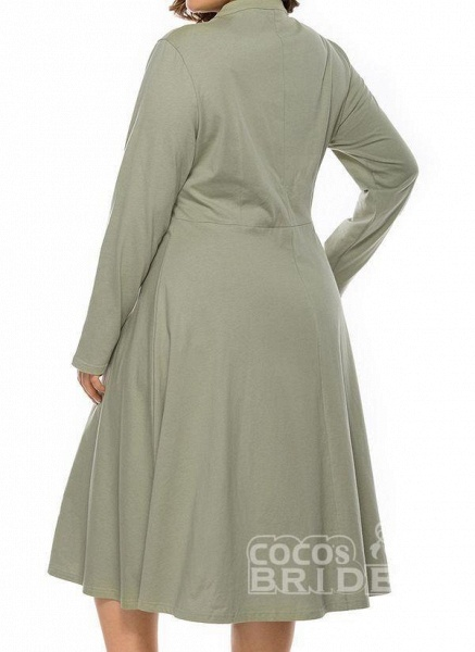 Light Green Plus Size Skater Solid Round Neckline Casual Hollow Out Plus Dress_2
