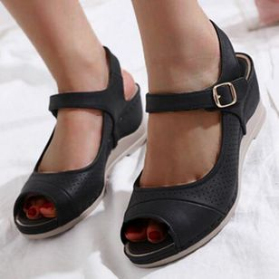 Women's Buckle Hollow-out Peep Toe Slingbacks Wedge Heel Sandals_5