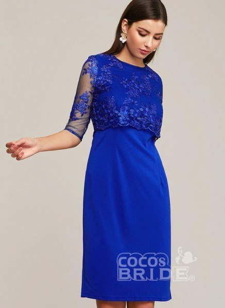 Blue Plus Size Solid Round Neckline Elegant Midi X-line Dress Plus Dress_2
