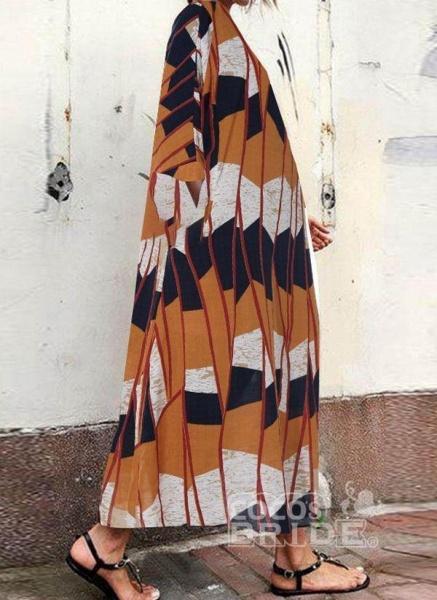 Multicolor Plus Size Tunic Color Block Round Neckline Casual Pockets Plus Dress_4