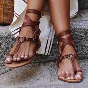 Women's Leopard Buckle Toe Ring Flat Heel Sandals_2