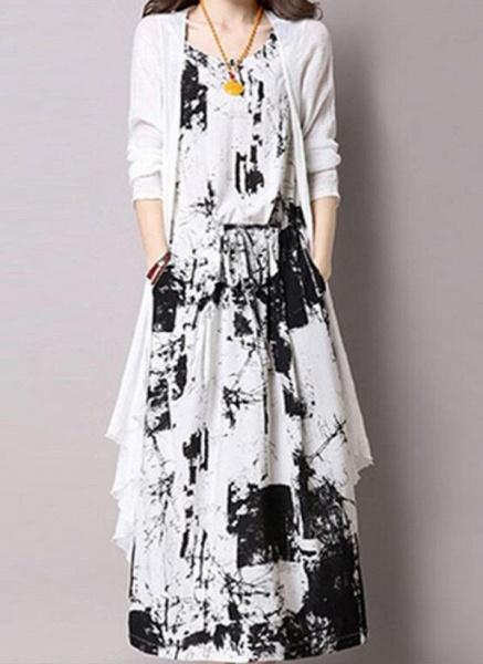 Casual Color Block Round Neckline Maxi X-line Dress_2