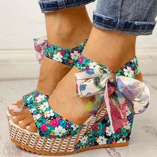 Women's Bowknot Lace-up Flower Slingbacks Cloth Wedge Heel Sandals_2