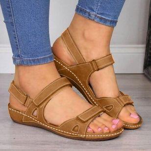 Women's Velcro Slingbacks Nubuck Flat Heel Sandals_4