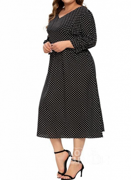 Black Plus Size Color Block V-Neckline Casual Ruffles Midi Plus Dress_2