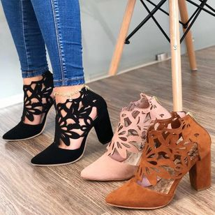 Women's Hollow-out Pointed Toe Heels Chunky Heel Sandals_2