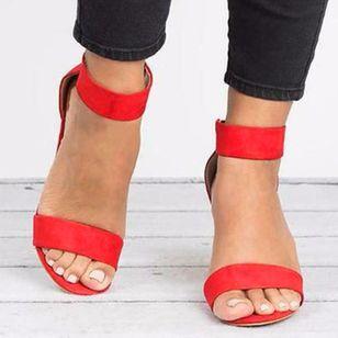 Women's Velcro Ankle Strap Heels Cloth Stiletto Heel Sandals_3
