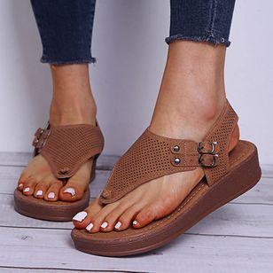 Women's Buckle Flip-Flops Flat Heel Sandals Platforms_8