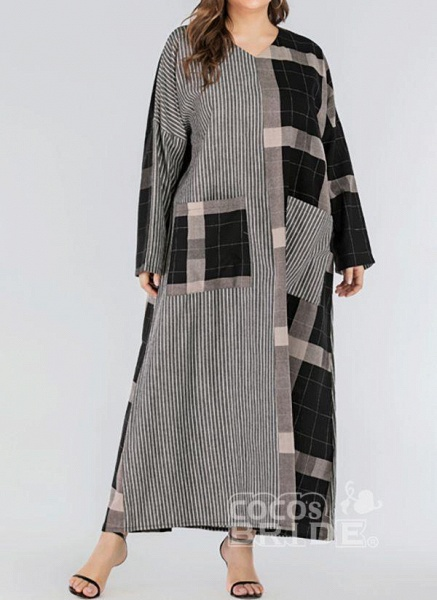 Black Plus Size Plaid V-Neckline Casual Pockets Maxi Plus Dress_4