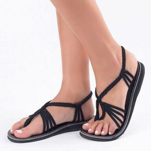 Women's Braided Strap Flip-Flops Cloth Flat Heel Sandals_4