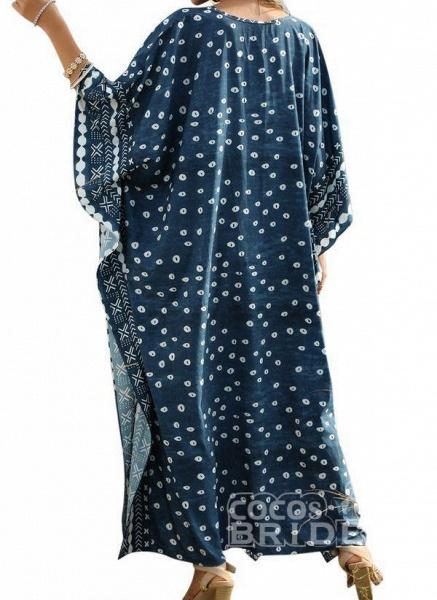 Plus Size Tunic Color Block V-Neckline Casual Maxi Plus Dress_3