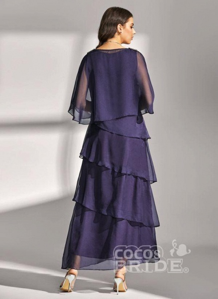 Dark Blue Elegant Solid Round Neckline Maxi X-line Dress_4
