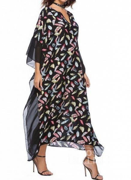 Blue Plus Size Tunic Color Block V-Neckline Casual Maxi Plus Dress_7