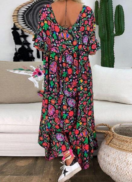 Purple Plus Size Tunic Floral V-Neckline Casual Midi Plus Dress_2