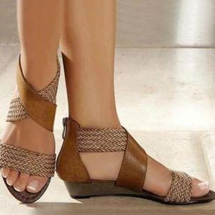 Women's Zipper Round Toe Wedge Heel Sandals_2