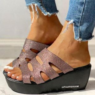 Women's Sequin Slingbacks Wedge Heel Sandals_4