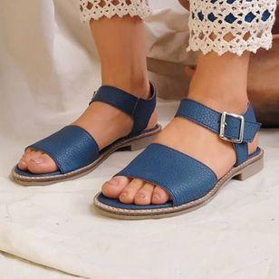 Women's Buckle Round Toe Low Heel Sandals_2