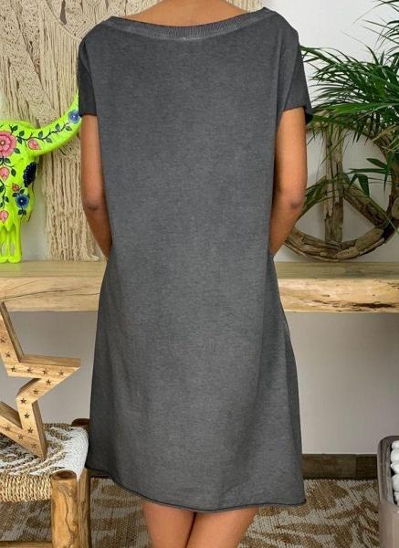 Dark Gray Plus Size Tunic Solid Boat Neckline Casual Knee-Length Plus Dress_1