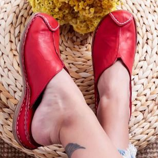 Women's Split Joint Closed Toe Round Toe Slingbacks Flat Heel Sandals_5