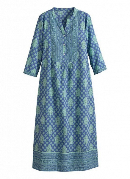 Royal Blue Plus Size Tunic Floral Round Neckline Casual Buttons Plus Dress_1