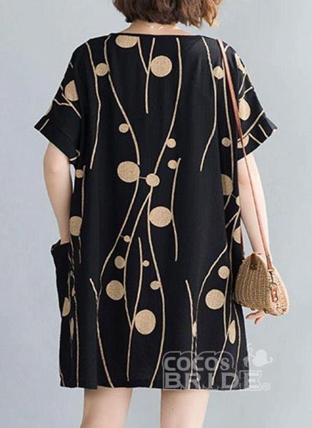 Plus Size Tunic Color Block Round Neckline Casual Pockets Plus Dress_2