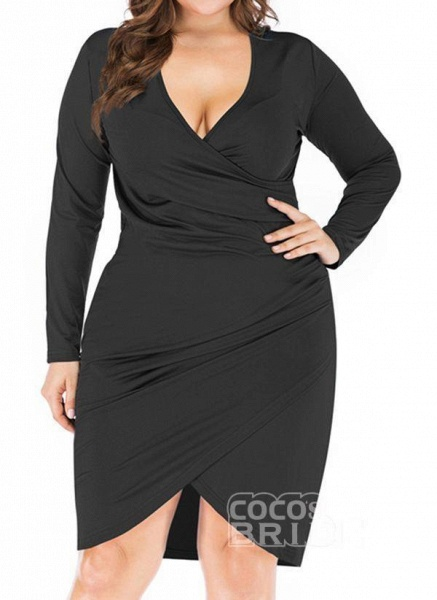 Black Plus Size Pencil Solid V-Neckline Casual Knee-Length Plus Dress_7