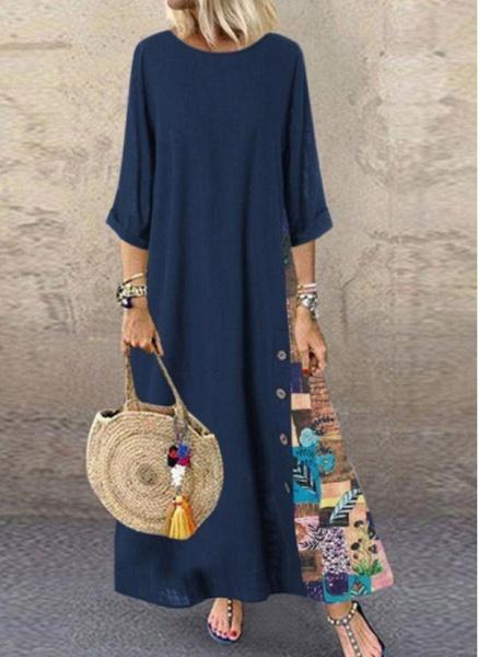 Dark Blue Plus Size Floral Round Neckline Casual Maxi A-line Dress Plus Dress_1