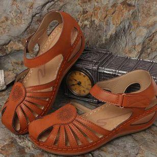 Women's Round Toe Wedge Heel Sandals_1