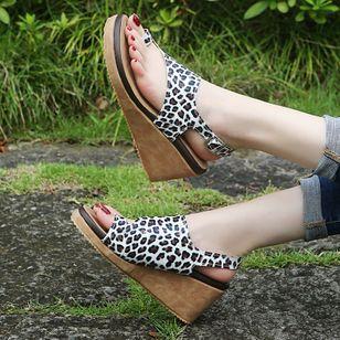 Women's Buckle Slingbacks Toe Ring Nubuck Wedge Heel Sandals_4