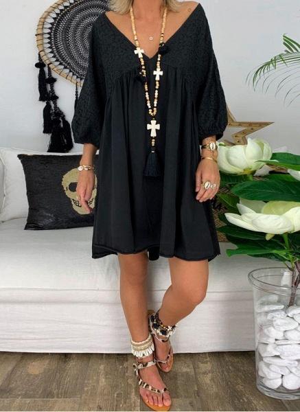 Black Plus Size Solid V-Neckline Casual Above Knee A-line Dress Plus Dress_6
