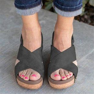 Women's Velcro Heels Wedge Heel Sandals_4