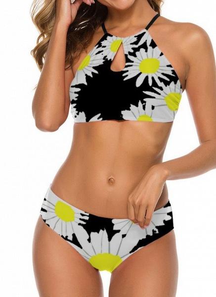 Nylon Halter Pattern Floral Bikinis Swimwear_3